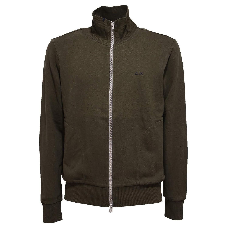 SUN 9865X Felpa  Herren 68 Military Grün Full Zip Cotton Sweatshirt Man