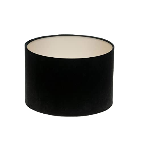 Black Velvet Drum Lampshade Brushed Champagne Inner Modern