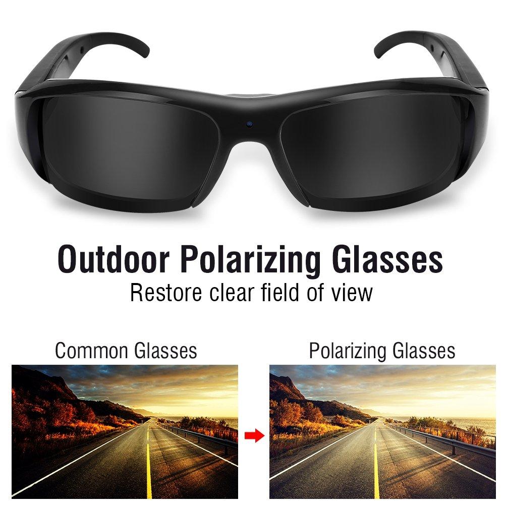 Ciclismo Mugast Gafas de C/ámara Digital Gafas de Sol Full HD 1080P C/ámara con Tarjetas TF de 32G para Actividades al Aire Libre etc. Esqu/í