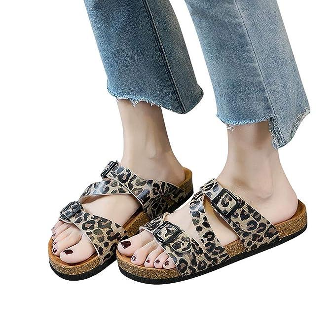 611ffa52045 Amazon.com  JJLIKER Women Gladiator Leopard Buckle Strap Flat Slippers  Outdoor Non-Slip Casual Sandals Low Heel Peep Toe Shoes  Clothing