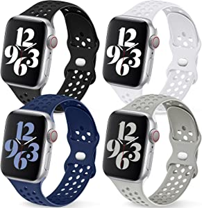 [4 Pack] Getino Sport Bands Compatible with Apple Watch Band 44mm 42mm for Women Men, Cute Stylish Soft Slicone Sport Replacement Strap for iWatch SE & Series 6 5 4 3 2 1, Black/White/Dark Blue/Gray