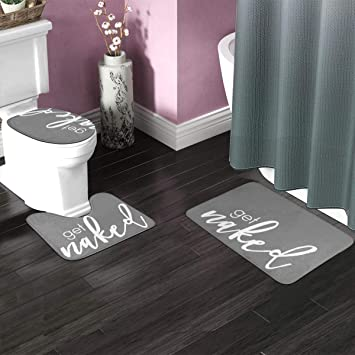 A.Monamour Bath Mat Set of 3 White Font Get Naked Black Background Funny Words Flannel Washable Toilet Pedestal Mat Toilet Seat Lid Covers Cushions Pads Non Slip Bathtub Rug