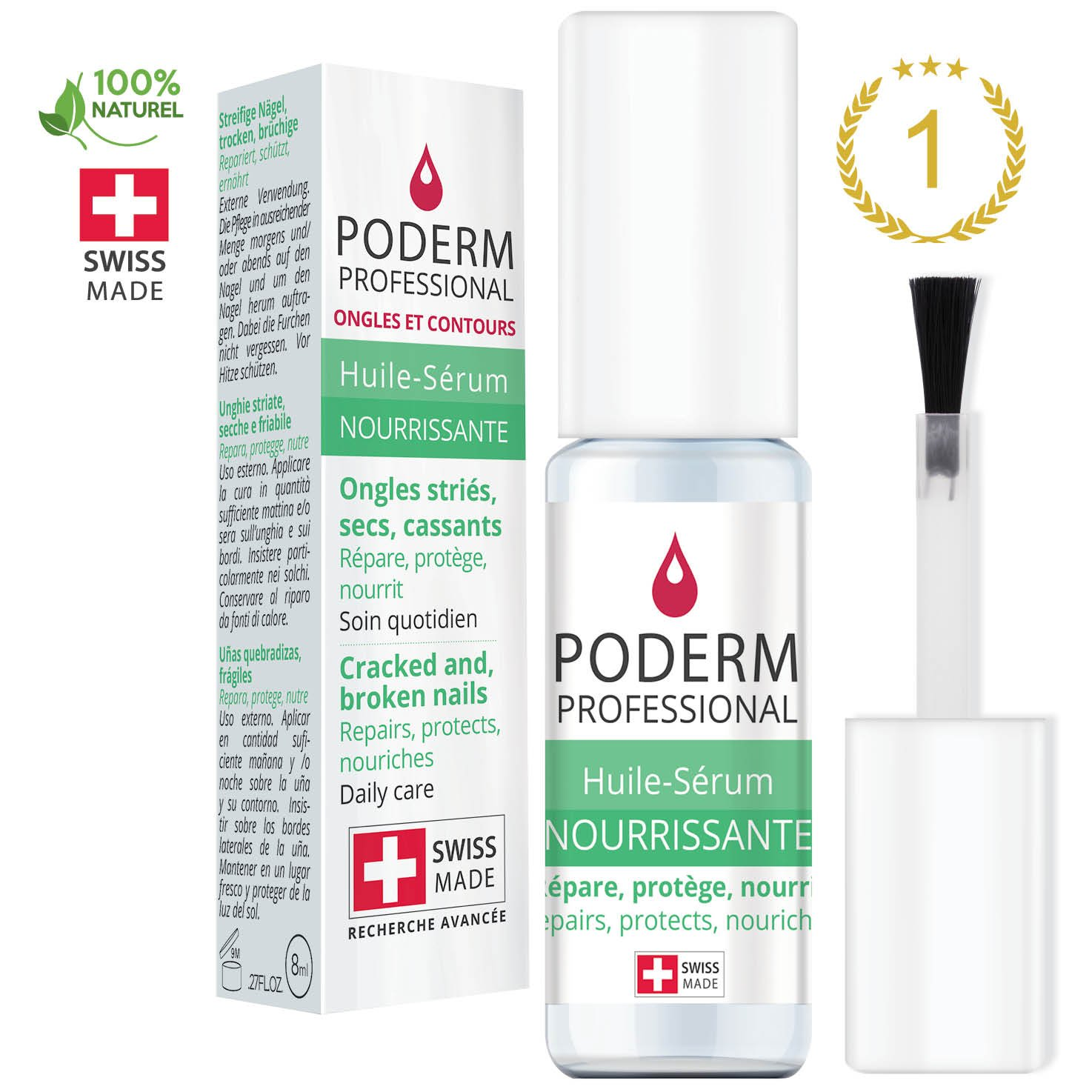 DRY, CRACKED AND BROKEN NAILS. REPAIRS, PROTECTS, NOURISHES. Natural, easy, fast treatment for hands and feet using exceptional Swiss plants and essential oils (organic lemon and cinnamon). by PODERM