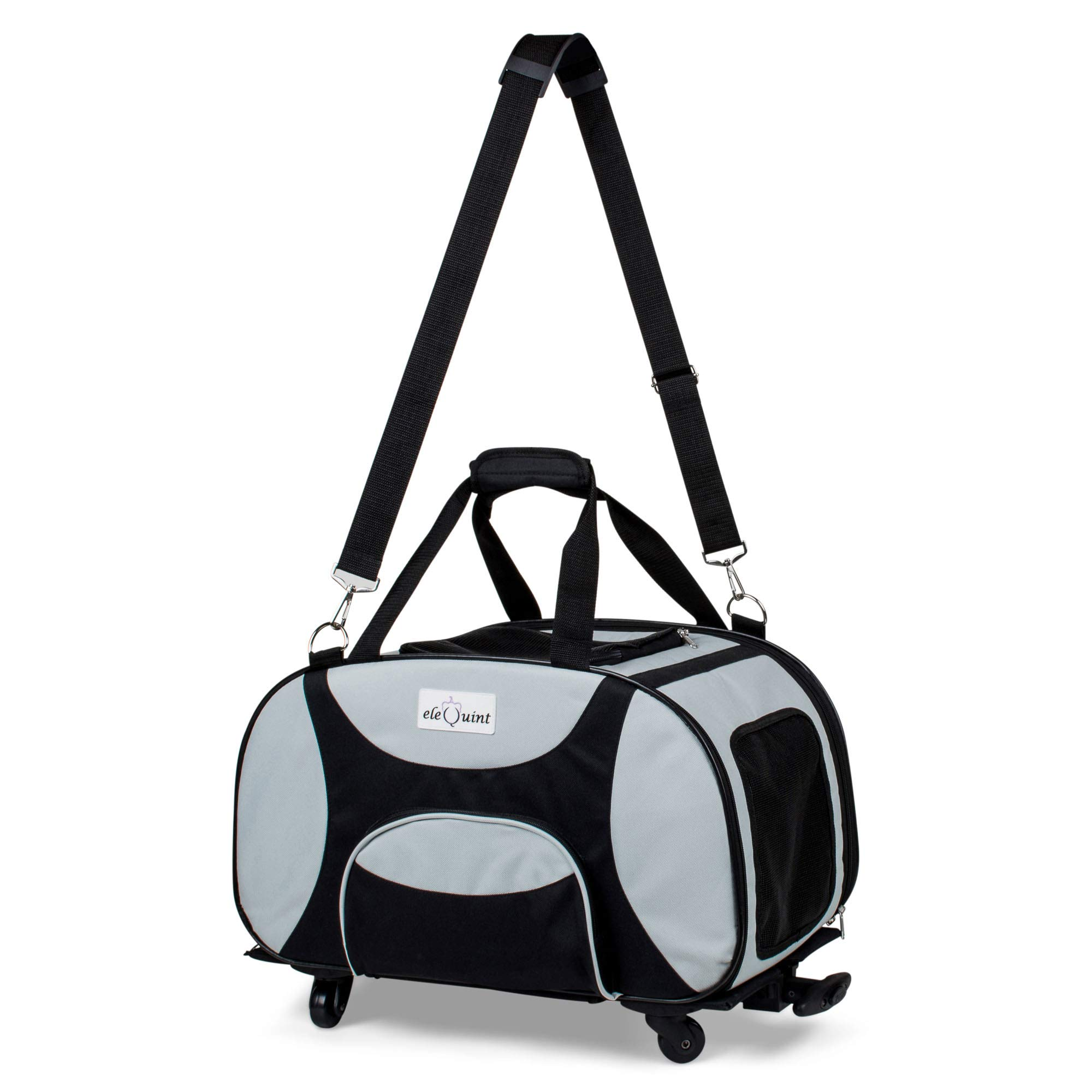 eleQuint Soft Sided Travel Pet Carrier with Detachable Wheel Platform and Fleece Pet Mat