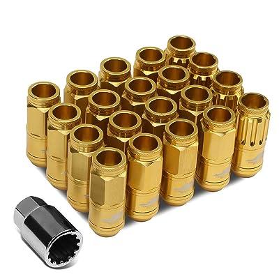 J2 Engineering LN-T7-002-15-GD Gold 7075 Aluminum M12X1.5 16Pcs L: 50mm Open End Lug Nut w/4Pcs Lock+Key: Automotive