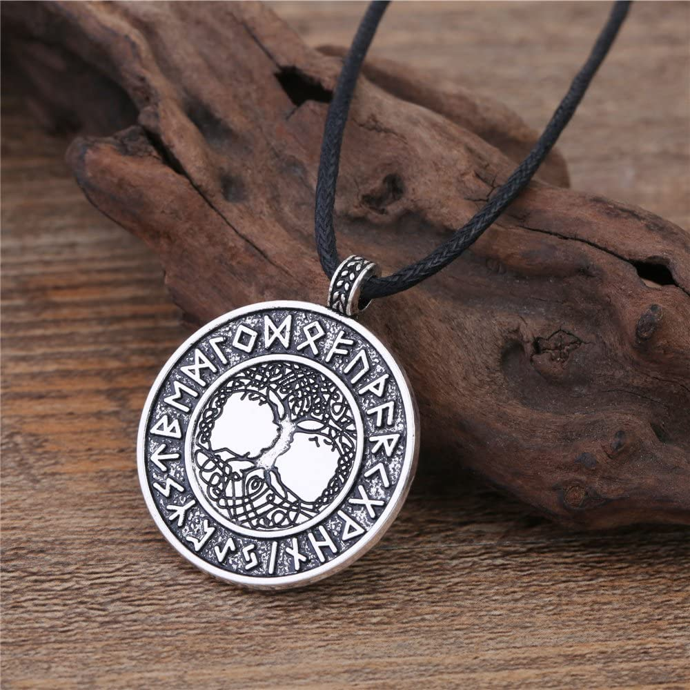 Skyrim Norse Viking Tree of Life The World Tree 24 Amulet Runes Talisman for Life Necklace