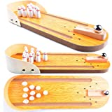 Wooden Mini Bowling Spiel Set mit Spur: Best Interactive Tabletop Bowling Game for Kids and Adults - Easy to Assemble and Play - Perfect Stress Relief Game and Party Favor