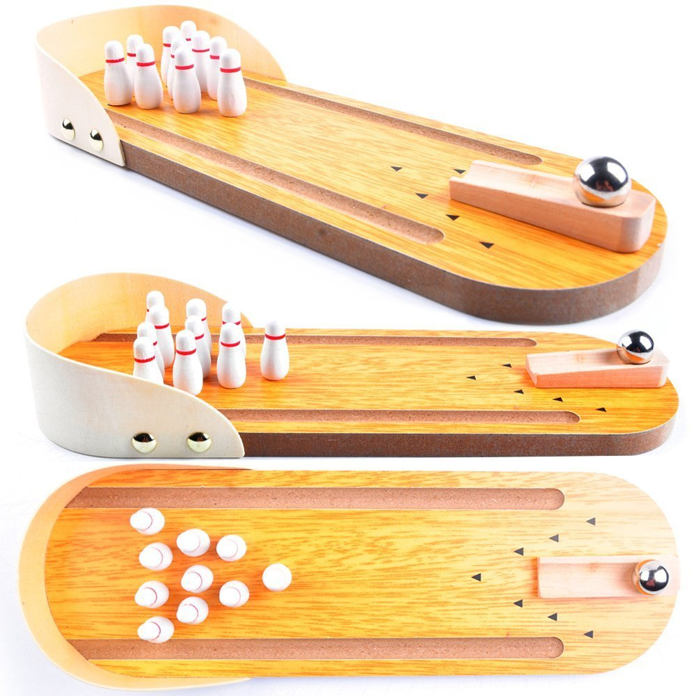 Wooden Mini Bowling Game Set with Lane,Best Interactive Tabletop Bowling Game for Kids and Adults -Office Toys for Adult Stress Relieve on Table or Learning Education Toys for Kids