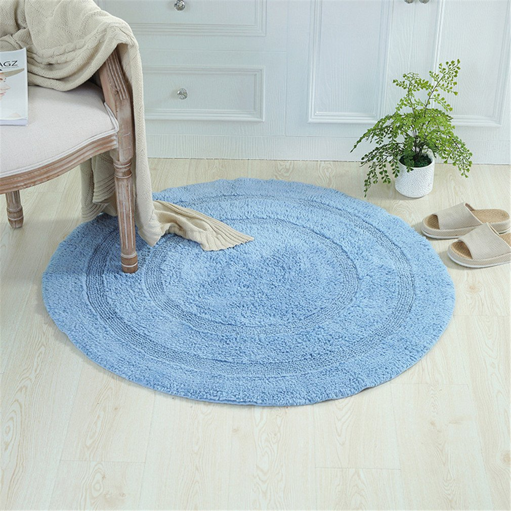 MIRUIKE Round Area Rugs Solid-color Double-sided Cotton Mat for Bedroom Living Room Non-slip Bathroom Suction Carpets