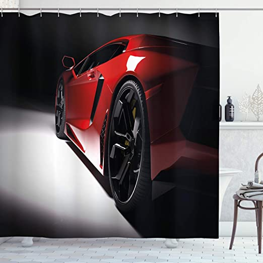 Modern Black Car with Water Reflection Prestige Fast Engine Performance Lifestyle Ambesonne Cars Shower Curtain Black Red 75 inches Long Fabric Bathroom Decor Set with Hooks