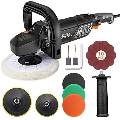 TACKLIFE Polisher, 12.5Amp 1500W Variable Speed Buffer Polisher, 7-Inch/6-Inch Polishing Pad with Digital Screen, Lock Switch, Detachable Handle, Ideal For Car Sanding, Polishing, Waxing - PPGJ01A: Home Improvement