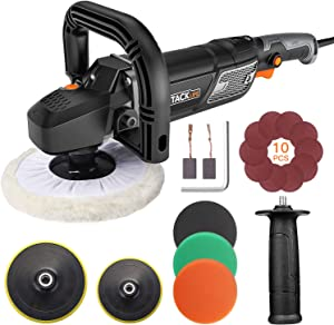 TACKLIFE Polisher, 12.5Amp 1500W Variable Speed Buffer Polisher, 7-Inch/6-Inch Polishing Pad with Digital Screen, Lock Switch, Detachable Handle, Ideal For Car Sanding, Polishing, Waxing - PPGJ01A