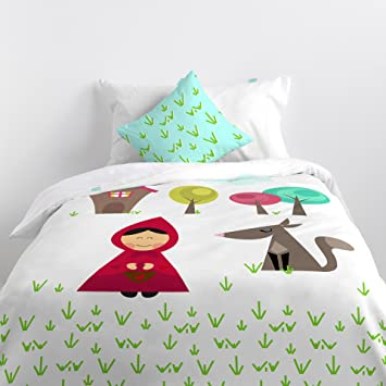 mr fox linge de lit MR Fox Grandma Housse Nordica 200x140x1 cm rouge: Amazon.fr  mr fox linge de lit