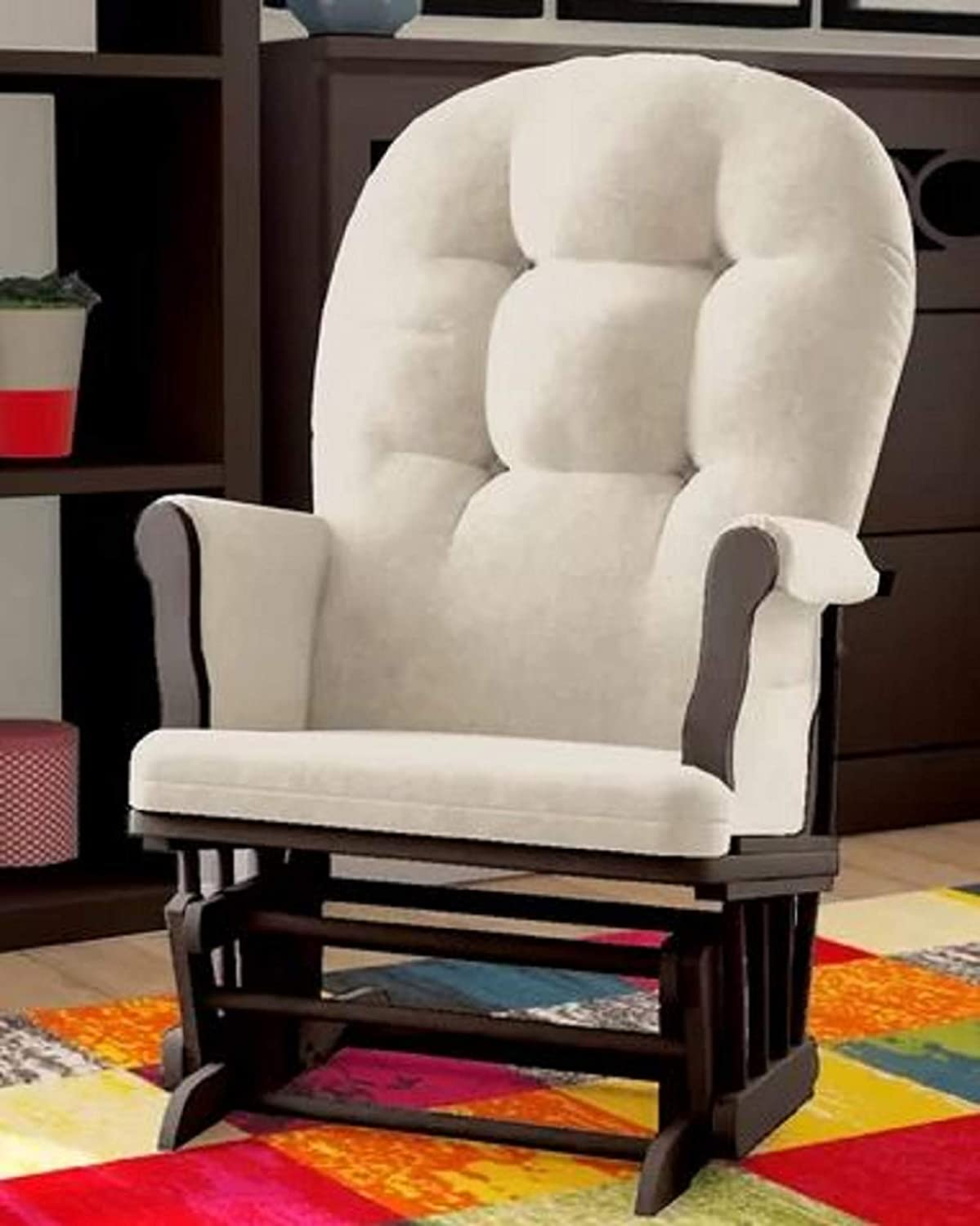 Nursery Glider Chair Crafted from Solid Beech Wood Removable Cotton Upholstered Cushions Beige//Espresso Essex Gentle Gliding Motion Nursery Glider Chair