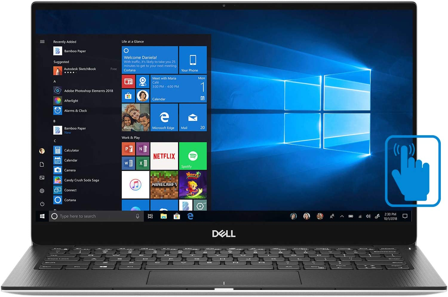 "Dell XPS7390 13"" InfinityEdge Touchscreen Laptop, Newest 10th Gen Intel i5-10210U, 8GB RAM, 256GB SSD, Windows 10 Home"