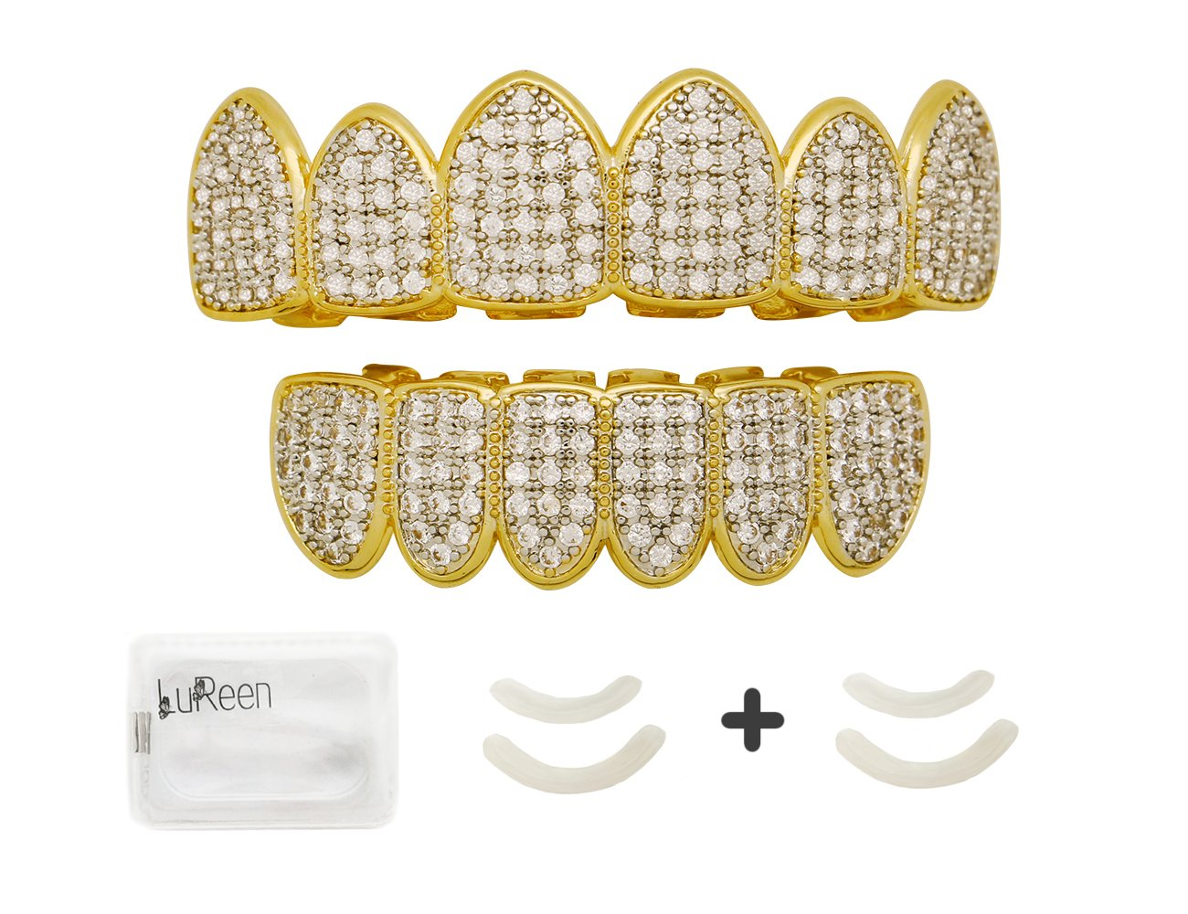 Lureen Gold Silver Two Tone Iced Out CZ Teeth Grillz Set with Molding Bars and Grillz Box (Grillz Set)