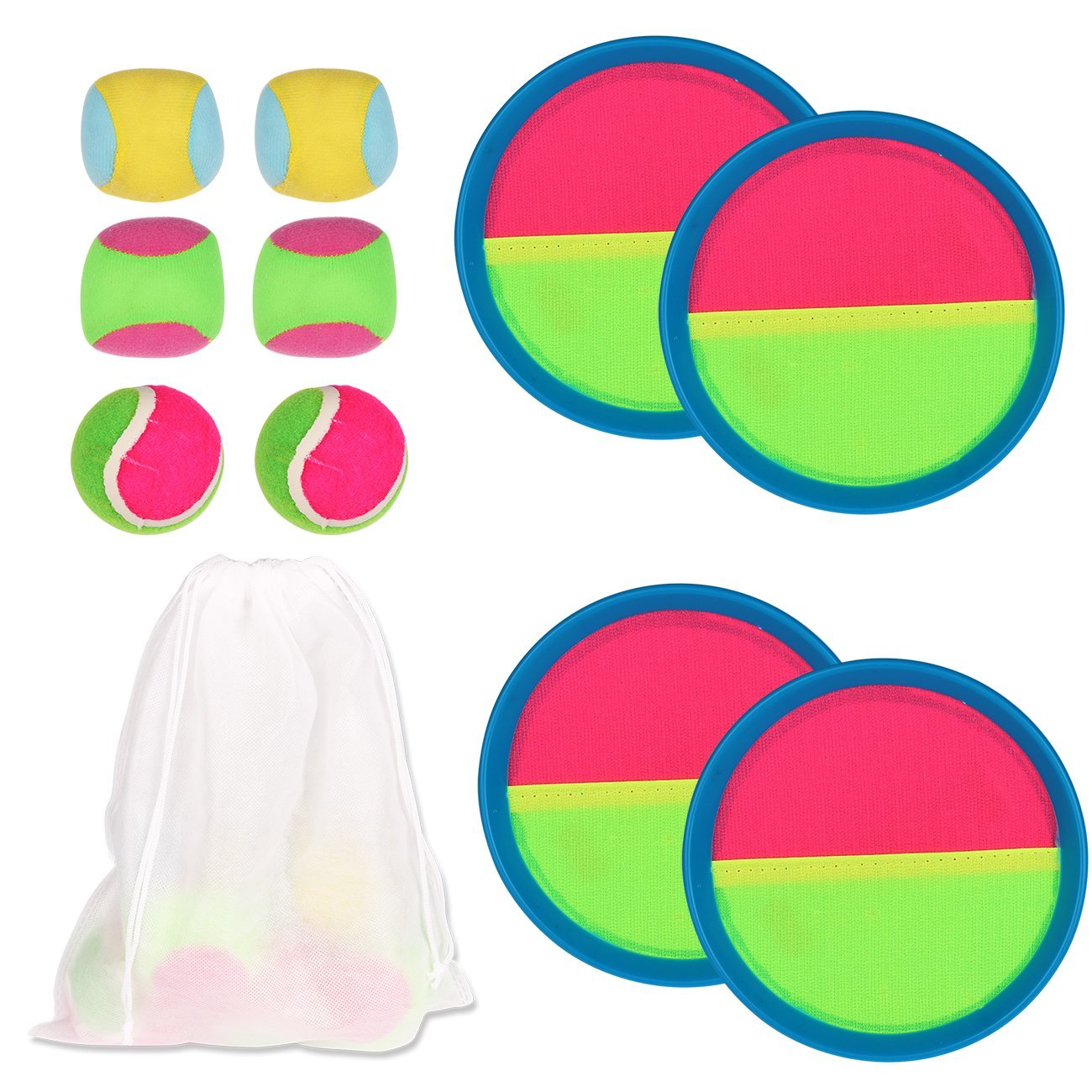 YOUTH UNION Toys Toss & Catch Paddle Game Set with Disc Paddles and Toss Ball Sport Game with Storage Bag, 4 Paddles and 6 Balls