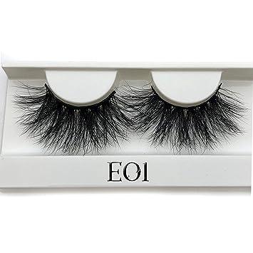 4158a40da22 Amazon.com : Peony red 25mm Long 3D mink lashes E01 extra length mink  eyelashes Big dramatic volumn eyelashes strip thick false eyelash, C, E01  only tray : ...