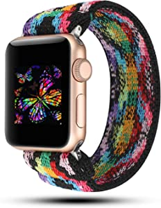 YOSWAN Stretchy Loop Strap Compatible for Apple Watch Band 40mm 38mm 44mm 42mm iWatch Series 6/5/4/3/2/1 Stretch Elastics Wristbelt (Aztec Style Colorful, 42mm/44mm)