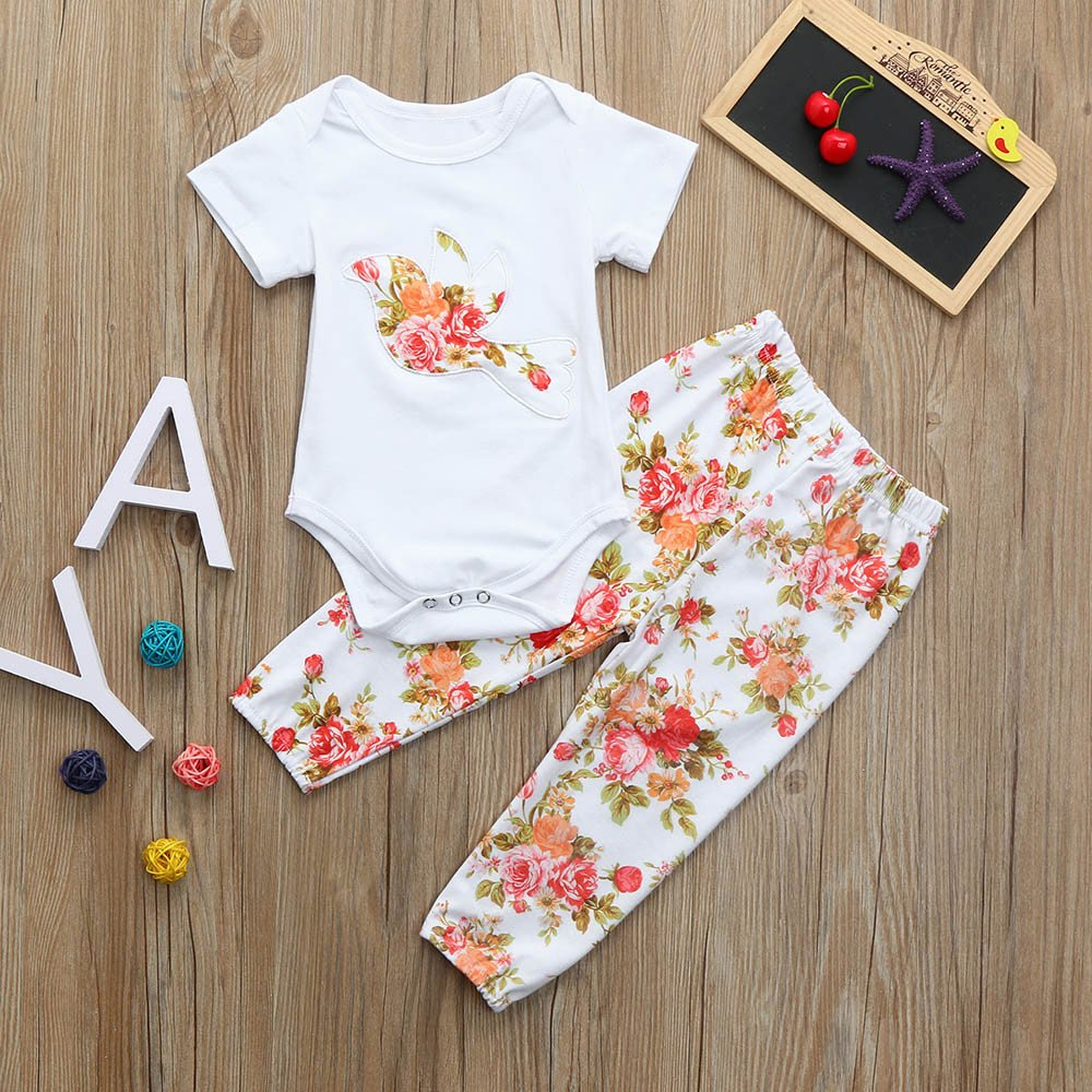 Headband Outfit Set Fenleo Newborn Baby Girl Rose Bird Print Short Sleeve Romper Tops+Rose Print Pants