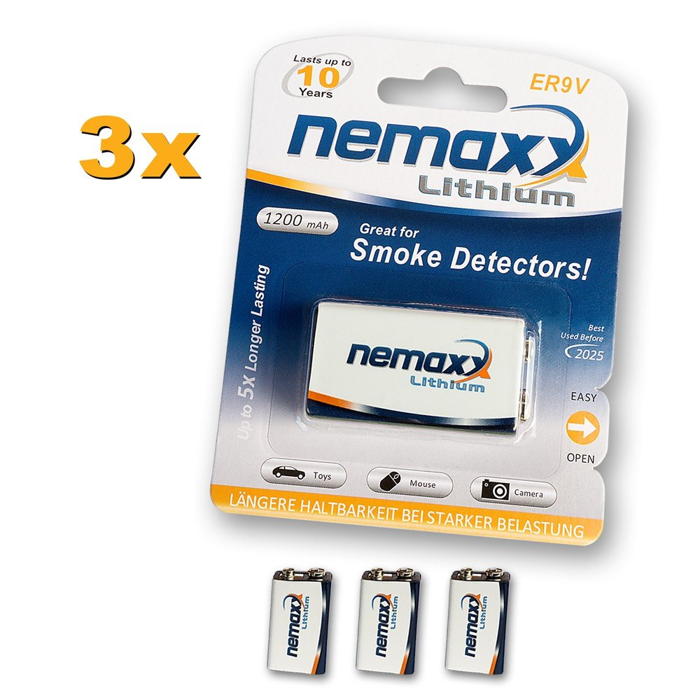 07LI9V ideale per rilevatore di fumo 10/anni di durata Nemaxx litio 9/V batteria a blocco