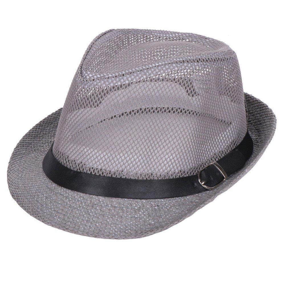 CapsA Mesh Beach Straw Hat for Men Women Belt Visor Small Top Hat Outdoor Sun Hat