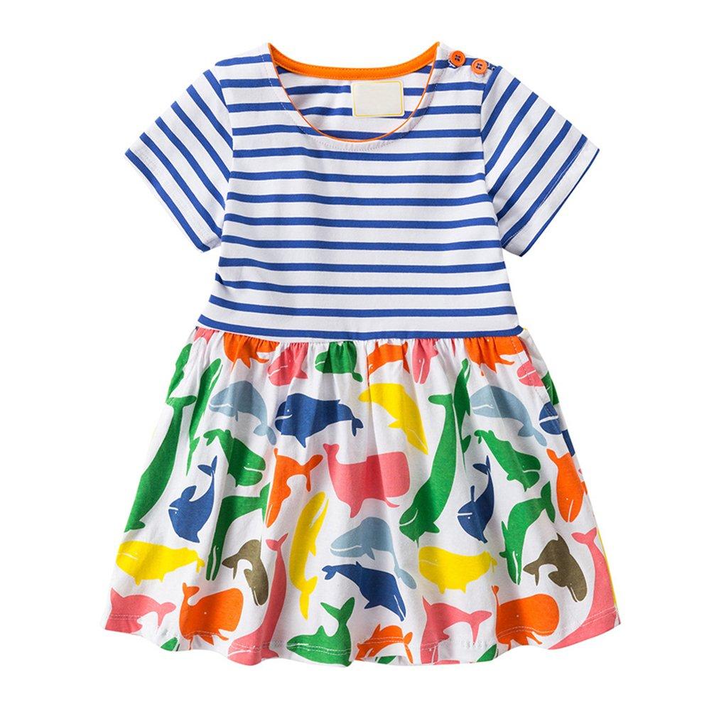 TMEOG Kids Girls Dresses Short//Long Sleeve Cute Dinosaur Animal Print Summer//Autumn Dress 1-7 Years