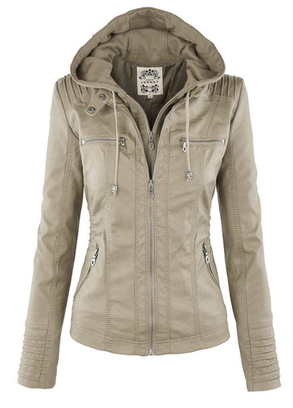 DOKER Women's Hooded Faux Leather Motorcyle Jacket Detachable Full Zipper Outerwear