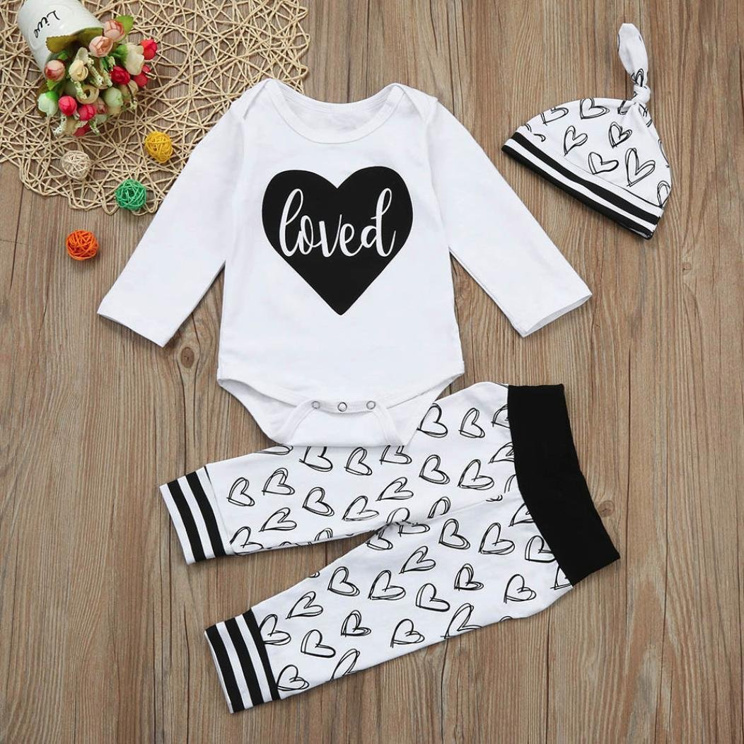 For 0-18 Months Baby,DIGOOD Toddlers Newborn Baby Boys Girls Love Letter Romper Tops+Heart Pants+Hat 3Pcs Outfits Clothes