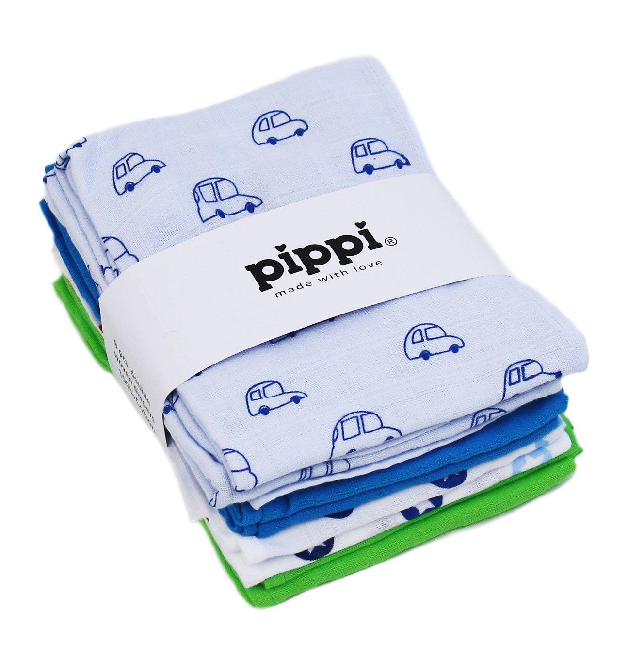pippi Premium Mullt/ücher Set 8 St/ück Spuckt/ücher Mullwindeln doppelt gewebt Dschungel-Stadt grau
