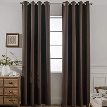Yakamok 2 Panels Thermal Insulated Grommet Light Blocking Blackout Curtains With 2 Ties For Bedroom Living Room 52Wx84L Chocolate Brown