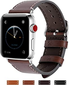 Fullmosa Compatible Apple Watch Band 42mm 44mm 38mm 40mm Genuine Leather iWatch Bands for iWatch Series SE 6 5 4 3 2 1, 42mm 44mm Coffee + Silver Buckle