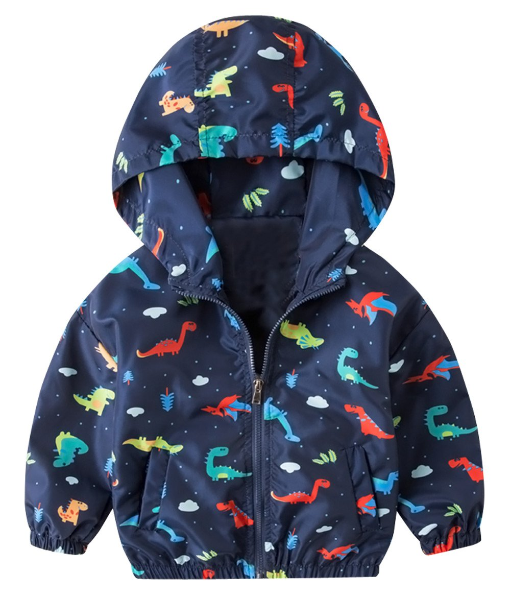 HARVEY JIA Boys' Hooded Jacket Lightweight Portable Windproof Dinosaur Outerwear