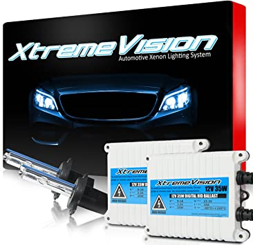 2 Year Warranty 6K Light Blue XtremeVision DC 35W Xenon HID Lights with Premium Slim Ballast 9007 6000K
