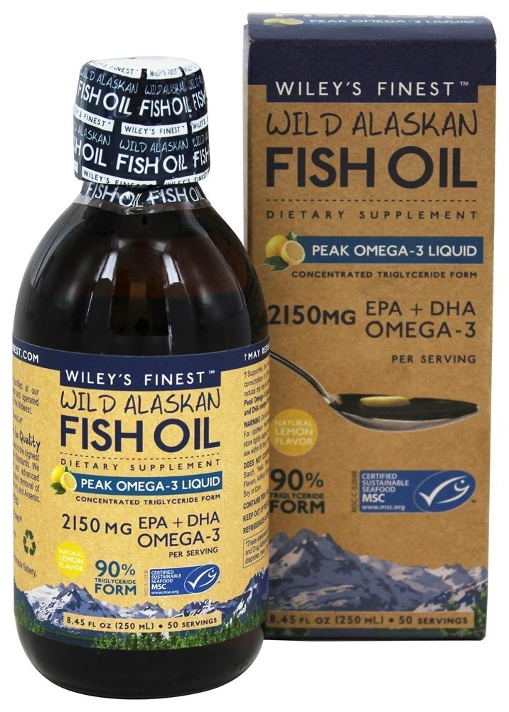 Wiley's Finest Peak Omega-3 Liquid 2150mg EPA + DHA Omega-3 Natural Wild Alaskan Fish Oil Supplement 50 Servings