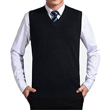 Nicholas Wit Solid Color Sweater Vest Men Cashmere Sweaters Wool