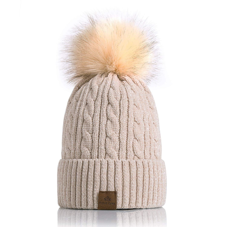 9a48c5cb002 PAGE ONE Women Winter Pom Pom Beanie Hats Warm Fleece Lined