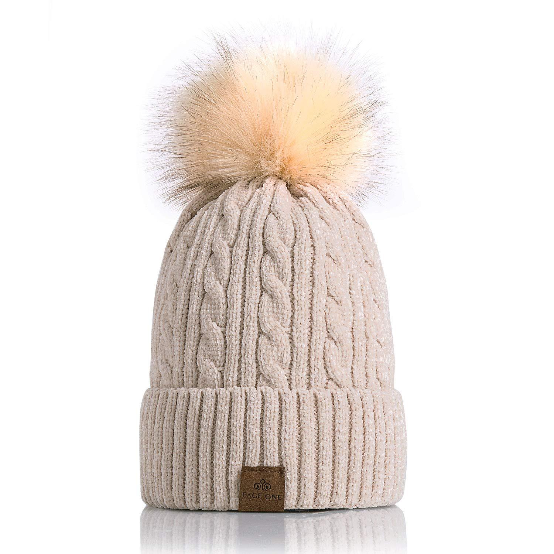 9c726043808e0 PAGE ONE Women Winter Pom Pom Beanie Hats Warm Fleece Lined