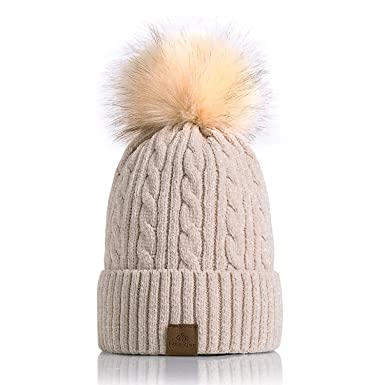 db77822b1db PAGE ONE Women Winter Pom Pom Beanie Hats Warm Fleece Lined