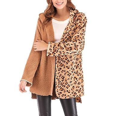 Darringls Abrigos de Invierno Mujer, Chaqueta Estampado de Leopardo Cosiendo Abrigo Más Terciopelo cálido SeccióN Larga: Amazon.es: Ropa y accesorios