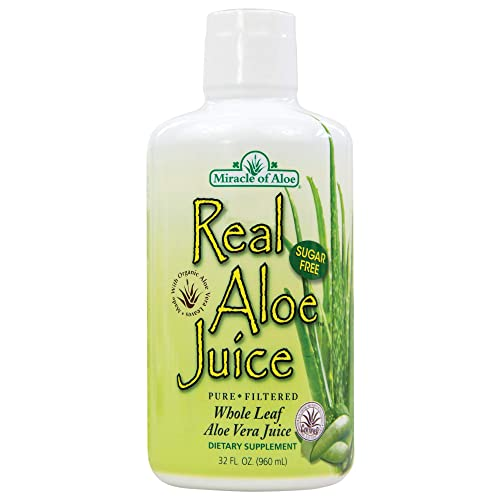 Real Aloe Whole-Leaf Pure Aloe Vera Juice - Made from Organically Grown Aloe Vera Leaves Purified & Filtered