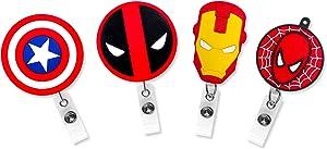 Finex Marvel 4 Pcs Set Retractable Badge Holder ID Badge Reel Clip On Card Holders - Captain America Shield Siperman Deadpool Iron Man