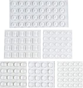 134PCS Cabinet Door Bumpers, 6 Size Clear Adhesive Bumpers Pads, Sound Dampening Transparent Rubber Feet for Drawers, Glass Tops, Cutting Boards, Picture Frames, Small Furniture, Wall and Wooden Floor