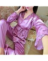 Edgar Dur 2016 Autumn Women Ladies Sexy Flower Lace Satin Silk Pajamas Sets Long Sleeve Tops