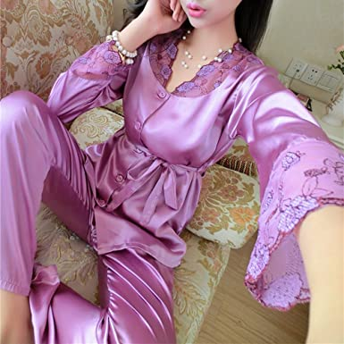 Edgar Dur 2016 Autumn Women Ladies Sexy Flower Lace Satin Silk Pajamas Sets Long Sleeve Tops