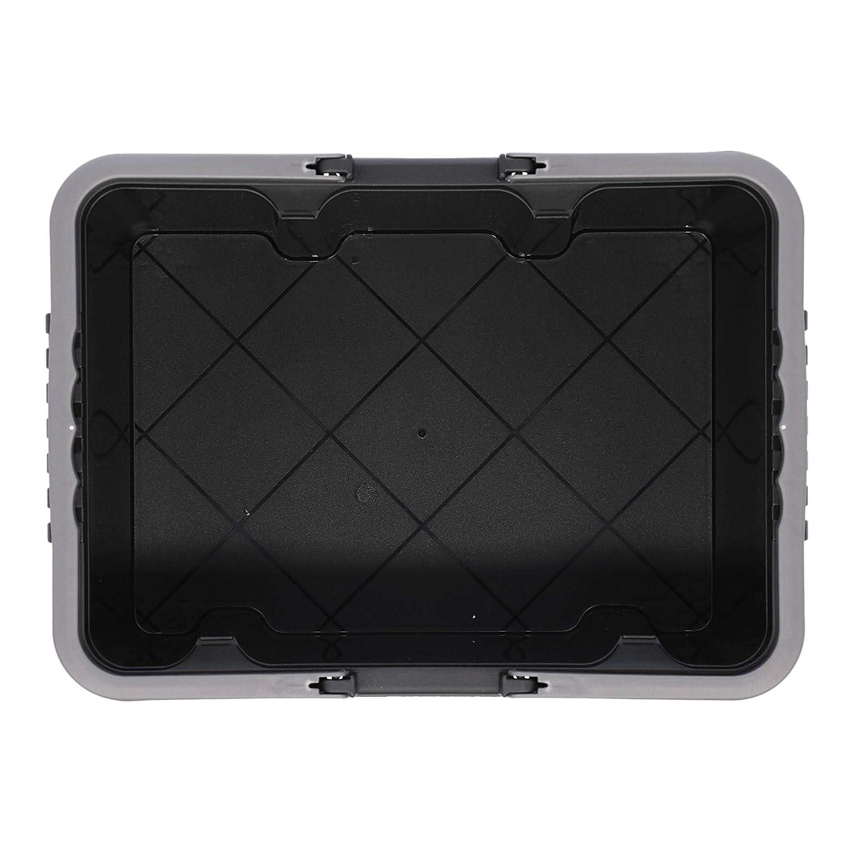 10L Tontarelli TON219 Cassetta Porta Attrezzi Utile Box Media con Coperchio e Maniglia Colore Nero Grafite
