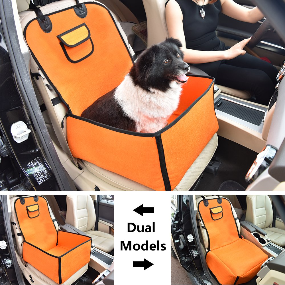 KALASONEER Car Seat Covers for Dogs, Pet Car Seat Booster (Orange), 2 in 1 Dog Seat Cover Dog Front Seat Cushion Pet Bucket