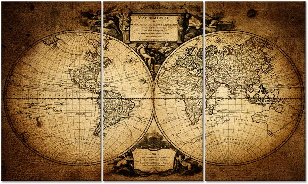 """Welmeco Large 36""""x60"""" Ancient Map of the World Wall Canvas Prints Retro Map Poster Framed and Stretched Painting Vinitage Old Map for Living Room Office Decoration (20""""x36""""x3 pcs)"""