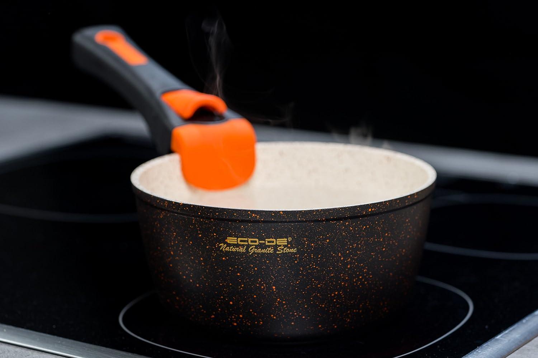 ECO-DE Set de 3 Piezas de sartenes con revestimineto cerámico y Granito con Mango Extraible Granite Stone (2 sartenes, 1 cazo y 2 Tapas) Apto para inducción ...