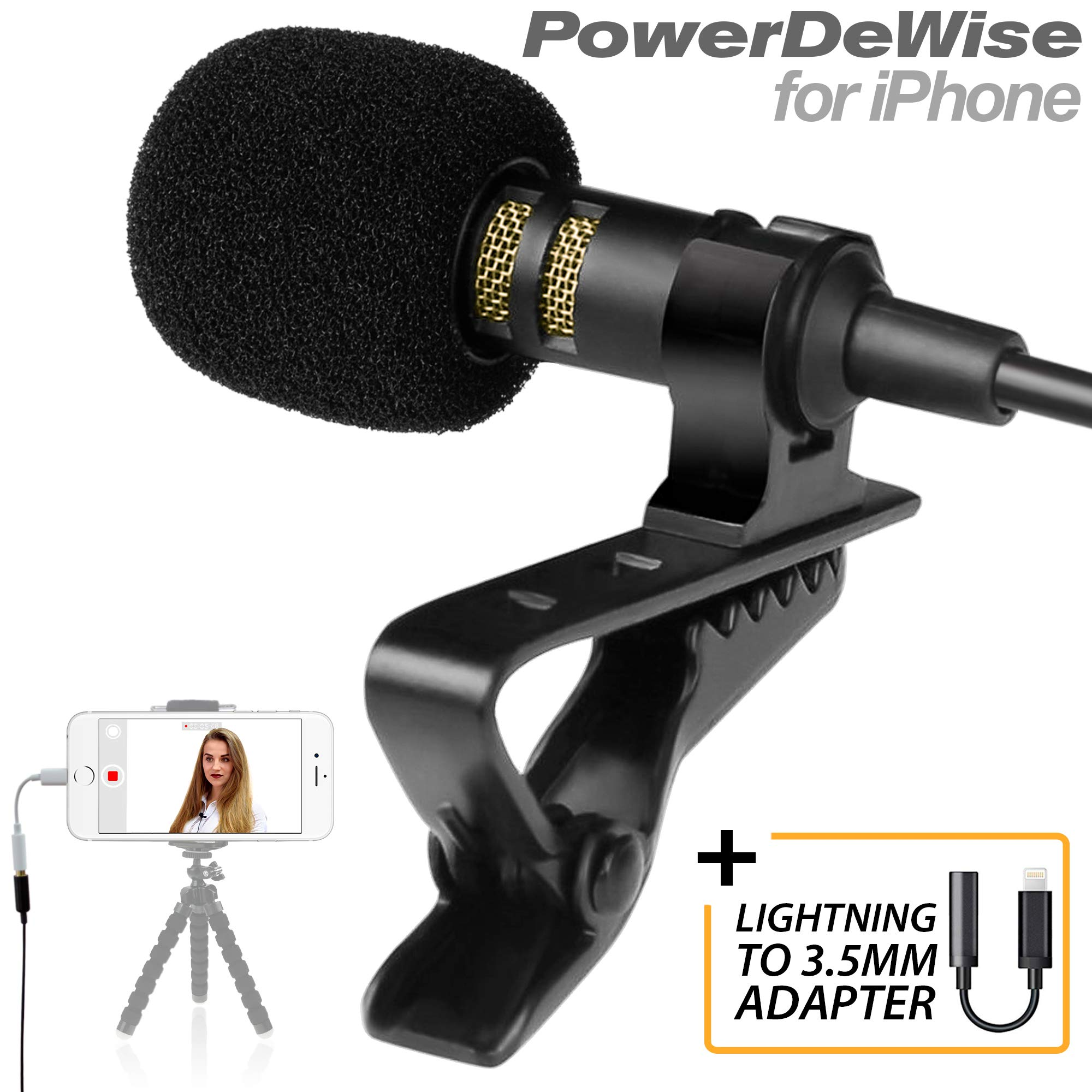 Professional Grade Lavalier Microphone with Adapter Compatible with iPhone - Lapel Microphone for iPhone 5 6 7 8 X - iPhone Compatible External Microphone - iPhone XR, XS, XS Max Microphone by PowerDeWise